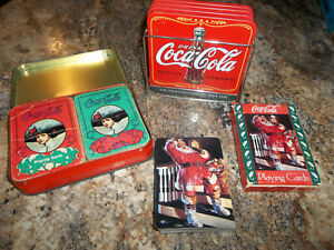 Set of 4 Coca-Cola Coasters (With Holder)  Coca Cola Playing Cards  3 Decks
