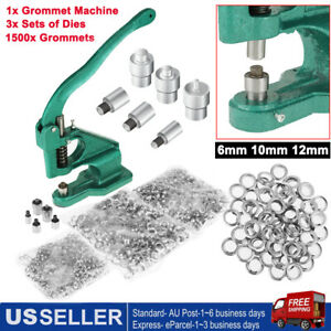 1500pcs 3 Die Grommets Eyelet Hole Punch Grommet Machine Hand Press Tool Banner
