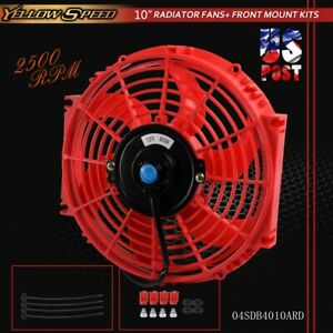 10 Universal Slim Pull Push Racing Electric Radiator Engine Cooling Fan Red