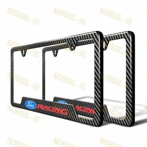 New For Ford Carbon Fiber Look License Plate Frame Abs X2