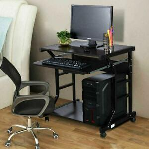 Home Office Roll Computer Desk Pc Laptop Table Workstation With 4 Wheels