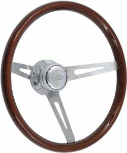 1957 1969 Dark Wood Steering Wheel Kit Polished Hub With Chevrolet Bowtie