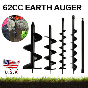 4pcs Earth Auger Post Hole Borer Ground Drill Bits Extension Rod Kits Hot Sale