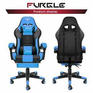 Gaming Chair Racing Computer Office Chair Pu High Back Footrest Ergonomic Black