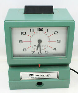 Vintage Acroprint 125nr4 Time Recorder Manual Punch Card Clock No Keys