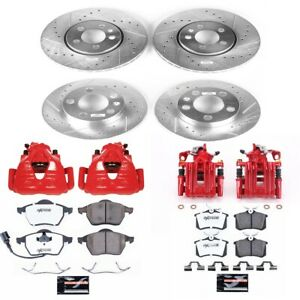 Kc899a 26 Powerstop 4 wheel Set Brake Disc And Caliper Kits Front Rear For Vw