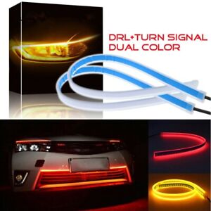 2pcs 60cm Red Drl Turn Signal Light Strip Yellow Flowing Sequential Led Tube Bar