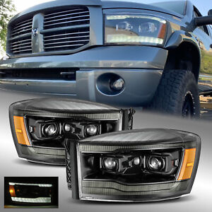 Fit 06 09 Dodge Ram Led Drl Signal Projector Headlights Polished Black