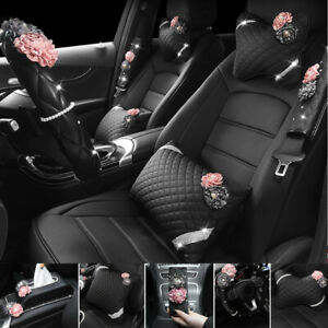 Universal Bling Crystal Flower Rhinestone Diamond Car Interior Decor Accessories