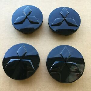 4 Gloss Black 59mm Wheel Center Caps Rim Hub Cap Cover Emblem Fit For Mitsubishi