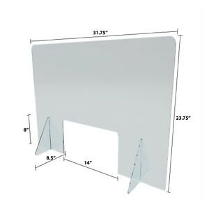 Sneeze Guard Acrylic Plexiglass Barrier Office Counter Retail Desktop
