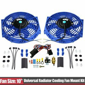 2x 10 Blue Electric Radiator Cooling Fan W Thermostat Relay Mounting Kit