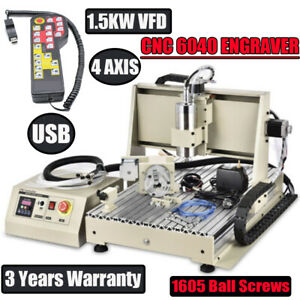 Usb 4 Axis 6040z Cnc Router Engraver Drilling Milling Machine handwheel 1500w