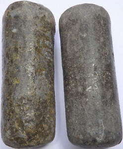 Pair Of Antique Lead Longcase Grandfather Clock Weights W1