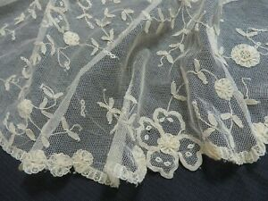 Antique Vtg Princess Net Lace Collar Flowers Hand Made Belgium Edwardian Cream