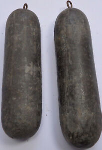 Pair Of Antique Lead Longcase Grandfather Clock Weights W2