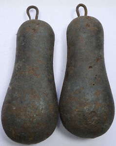 Pair Of Antique Cast Iron Longcase Grandfather Clock Weights Pear Shaped W4