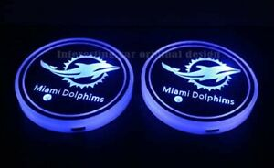 2pcs Team Logo Led Cup Holder Lights For Miami Dolphins 7 Colors Changing