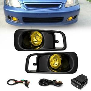 Yellow Lens Fog Light Bumper Lamps W switch harness bezel For 99 00 Honda Civic