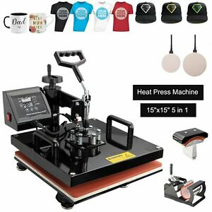 5 In 1 Heat Press Machine For T shirts Combo Kit Sublimation Swing Away 1100w