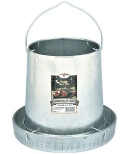 12 Lb Capacity Gravity Fed Galvanized Hanging Metal Feeder For Chicken Poultry
