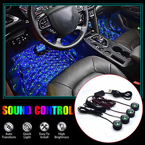 4x Car Interior Light Led Rgb Music Sound Control Atmosphere Ambient Decor Star