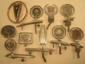 Lot Of 10 Vintage Metal Car Emblems Gmc Buick Chevy Ford Hood Ornament y65ab
