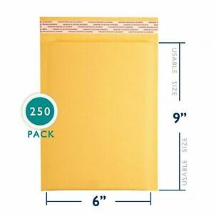 250 6x10 Kraft Bubble Mailers Paper Padded Envelopes Shipping Case 6 x10 6x9 Us
