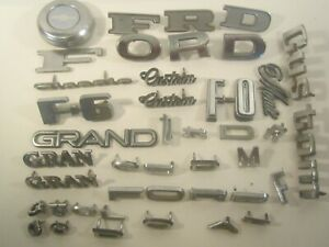 Vintage Lot Metal Car Emblem Script Ford Chevy Chrysler Gmc Etc Y65a7