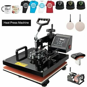 5 In 1 Heat Press Machine For T shirts 15 x15 Combo Kit Sublimation Swing Away