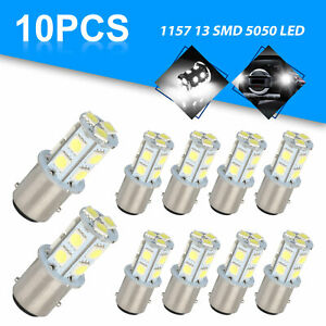 10x White 1157 Bay15d 13 smd Led Car Truck Trailer Rv Tail Brake Stop Light Bulb