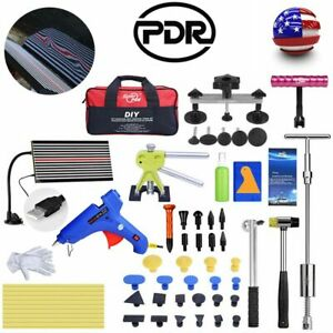 Pdr Tools Paintless Dent Removal Repair Kit Puller Lifter T Bar Hammer Led Light