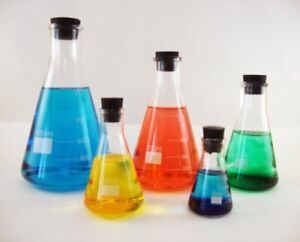 Erlenmeyer Flask Set 50 125 250 500 And 1000ml With Matching Stoppers