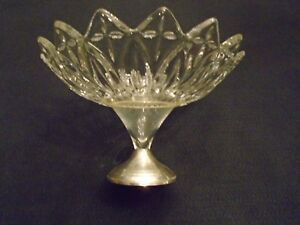 Vintage Duchin Creation Sterling Weighted Base Glass Crystal Compote Fruit Bowl