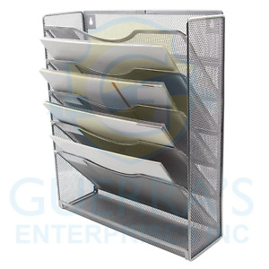 Easypag Mesh Wall Hanging File Holder Organizer Mounted Document Tray silver