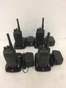 Lot Of 4 Motorola Xpr 6100 Portable Two Way Radio With Battery And Charger
