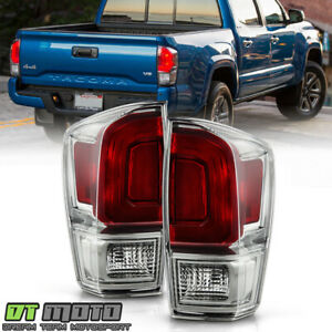 For 2016 2020 Toyota Tacoma Smoke Bezel Tail Lights Brake Lamps Pair Left Right