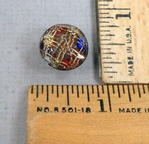 Kaleidoscope Button 1 1800s Clear Glass W Colorful Plaid Back Tin Backed