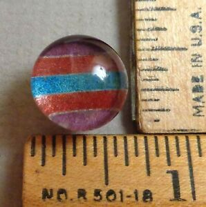 Kaleidoscope Button 21 1800s Clear Glass W Colorful Back Tin Backed