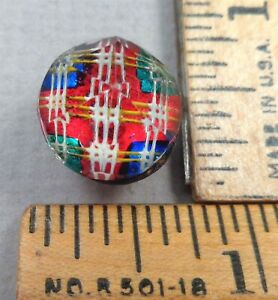 Kaleidoscope Button 25 1800s Clear Faceted Glass W Colorful Tin Backed Design
