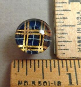 Kaleidoscope Button 27 1800s Clear Glass W Colorful Back Tin Backed
