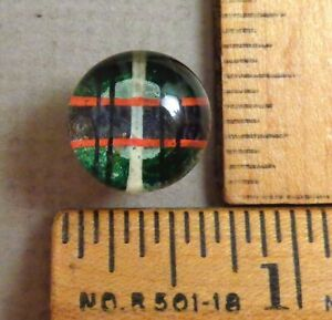 Kaleidoscope Button 5 1800s Clear Glass W Colorful Back Tin Backed