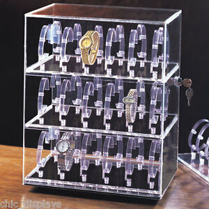 Rotating Watch Case Acrylic Display Cabinet Showcase Countertop Case 36 Watches