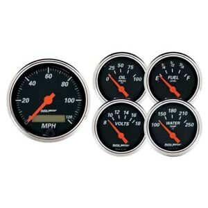 Autometer 1421 Designer Black 5 Piece Electric Gauge Kit