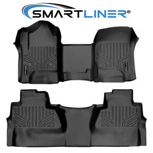Smartliner Floor Mats Liner Over The Hump For Chevrolet Truck Crew Cab Black