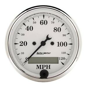 Autometer 1688 Old tyme White Air core Speedometer 3 1 8 Inch