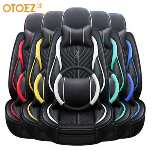 Universal Car Seat Covers Full Set Breathable Leather W Steering Wheel Cover