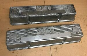 Mickey Thompson M T Early Small Block Chevy Sbc Valve Cover Pair Genuine Oem