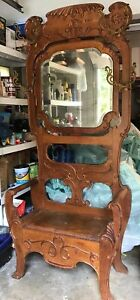 Antique Oak Hall Tree Beveled Mirror 1900 Lovely Carving 82 Tall Local Pickup