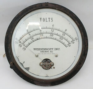 Vintage Large Weidenhoff Dc Volt Meter Electric Gauge Ship Power Plant Steampunk
